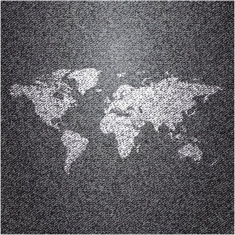Światowa mapa na cajgu tle ilustracji