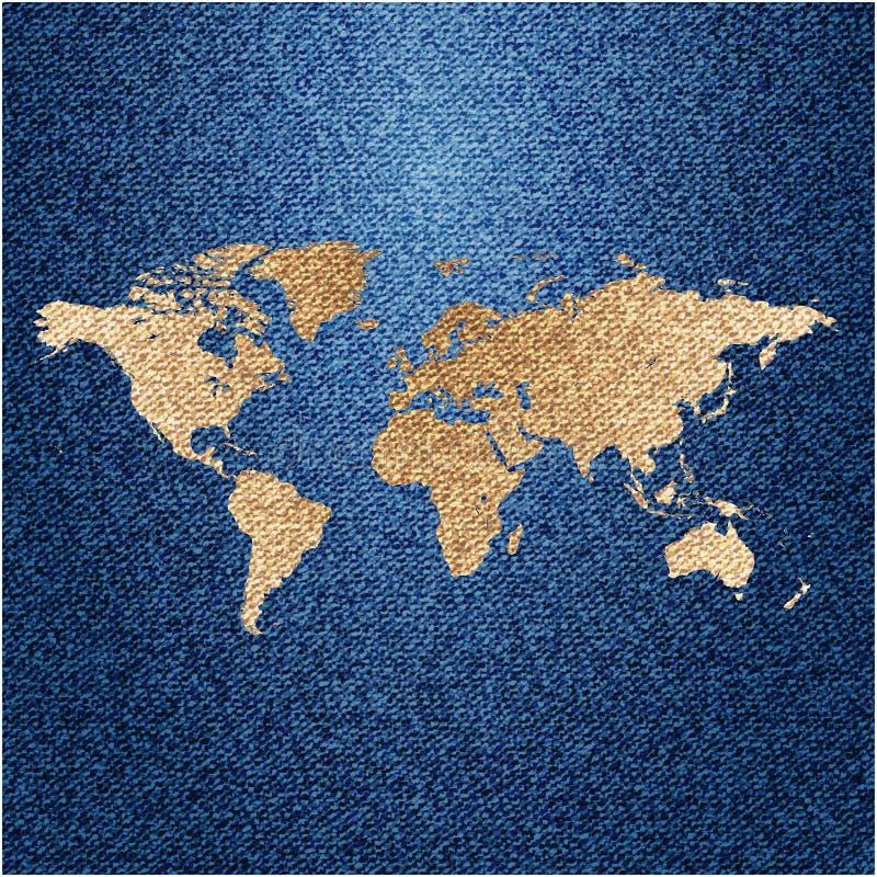 Światowa mapa na cajgu tle royalty ilustracja