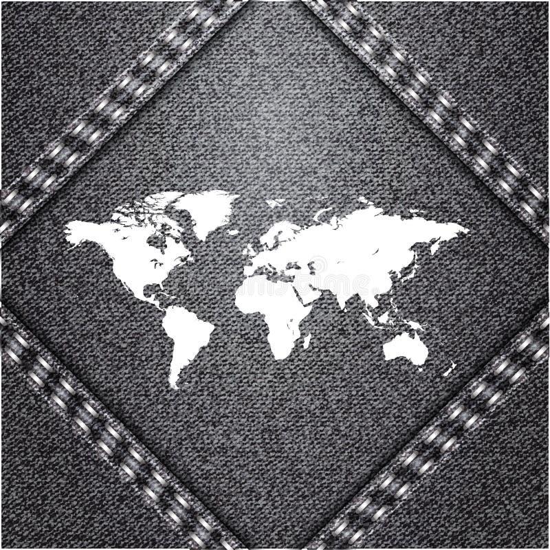 Światowa mapa na cajgu tle ilustracja wektor