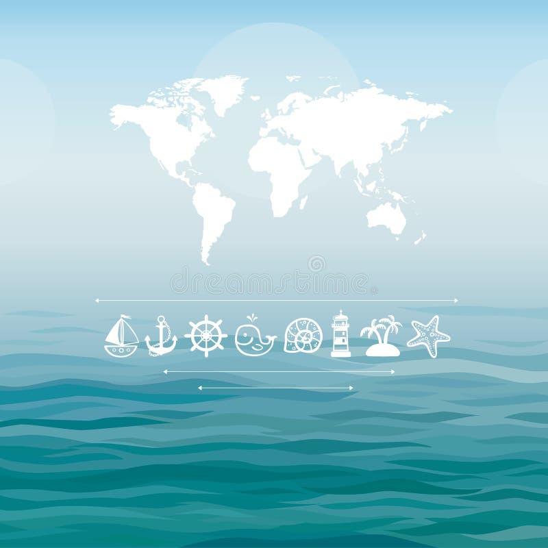 Światowa mapa na dennym tle z dennymi ikonami ilustracji