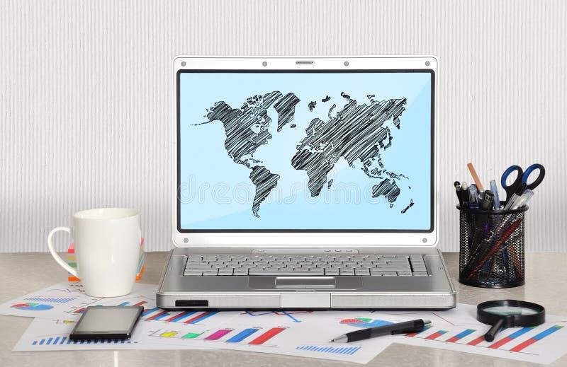 Światowa mapa na ekranie fotografia royalty free