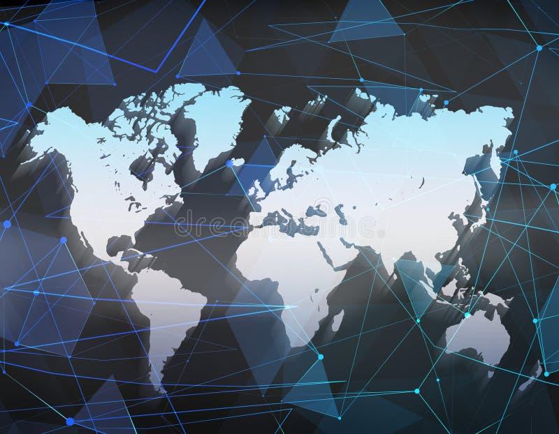 Światowa mapa na poligonalnym tle Globalna podróży geografia i łączy, kontynent i planeta ilustracja 3 d ilustracja wektor