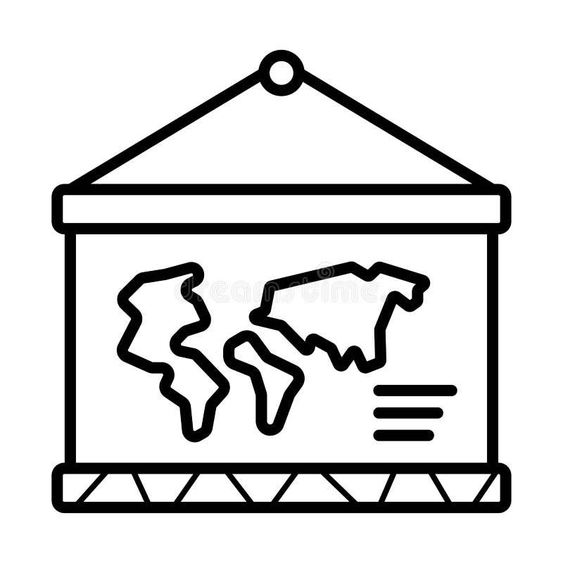 Światowa mapa na szkolnej ikonie royalty ilustracja