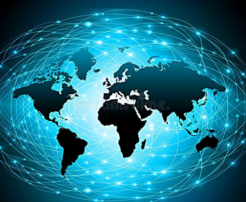 Światowa mapa na technologicznym tle, jarzy się wykłada symbole internet, radio, telewizja, wisząca ozdoba i satelita, royalty ilustracja