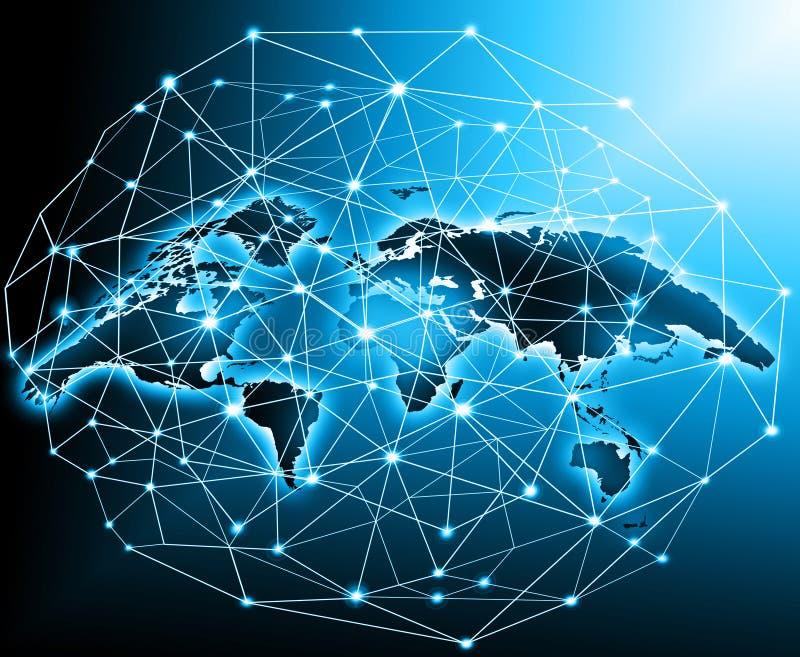 Światowa mapa na technologicznym tle, jarzy się wykłada symbole internet, radio, telewizja, wisząca ozdoba i satelita, ilustracja wektor
