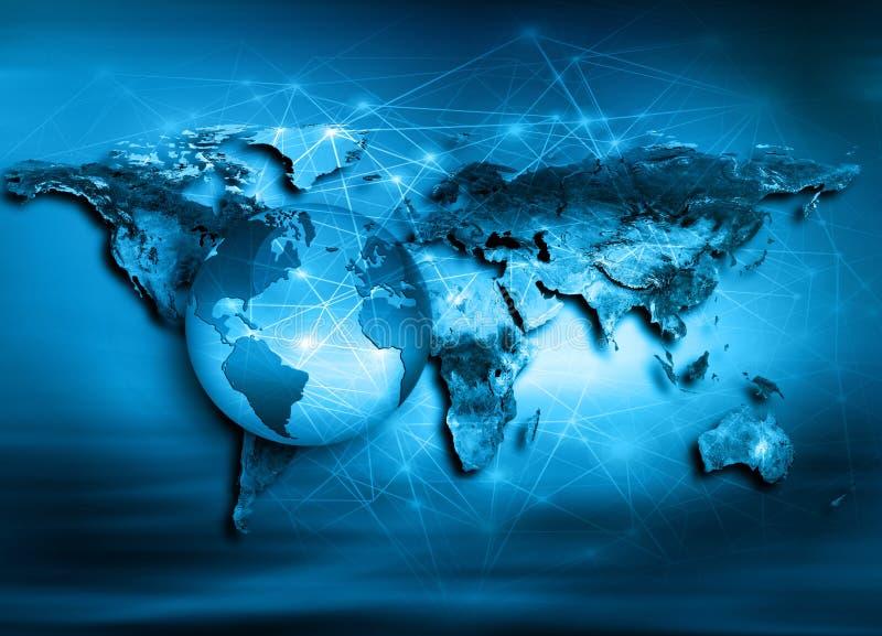 Światowa mapa na technologicznym tle najlepszego biznesowego pojęcia globalni internety Elementy ten wizerunek meblujący obok royalty ilustracja