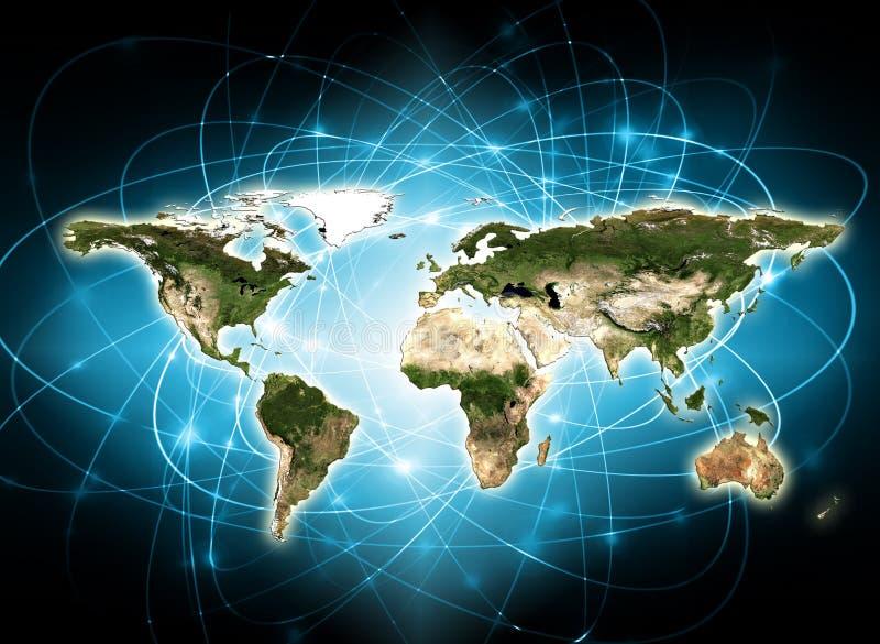 Światowa mapa na technologicznym tle najlepszego biznesowego pojęcia globalni internety Elementy ten wizerunek meblujący obok ilustracji