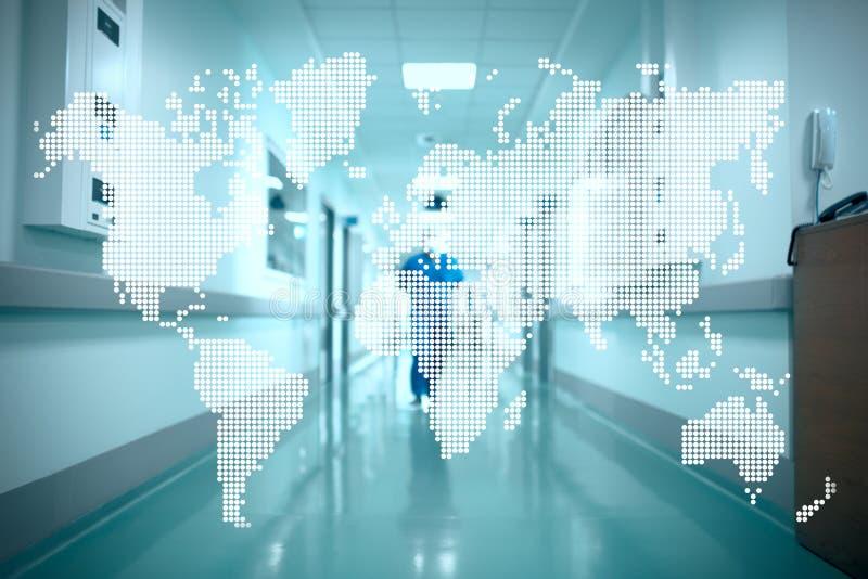 Światowa mapa na tle szpitalny korytarz Pojęcie obrazy stock