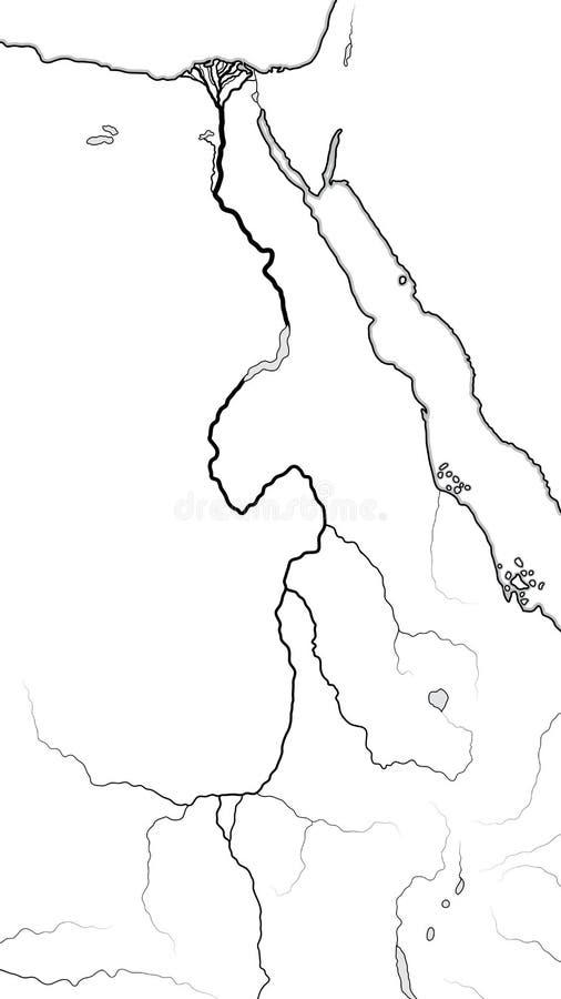 Światowa mapa NIL RZECZNA delta & dolina: Afryka, Egipt, Nubia, Etiopia, Sudan Geograficzna mapa ilustracja wektor