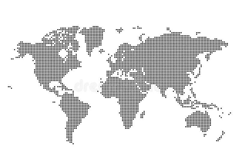 Światowa mapa Robić kropki Płaska Prosta Czarna Wektorowa grafika ilustracja wektor