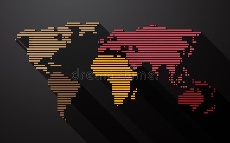 Światowa mapa tworząca od linii royalty ilustracja