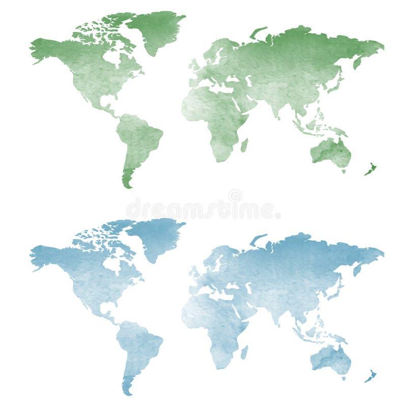 Światowa mapa w akwareli teksturze obrazy stock