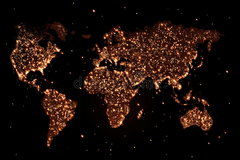 Światowa mapa w nocy z światłami ilustracja wektor