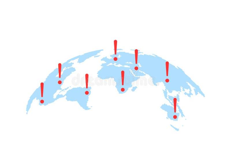 Światowa mapa z abstrakcjonistycznymi epicentrami cyber katastrofy lub ataki ilustracji