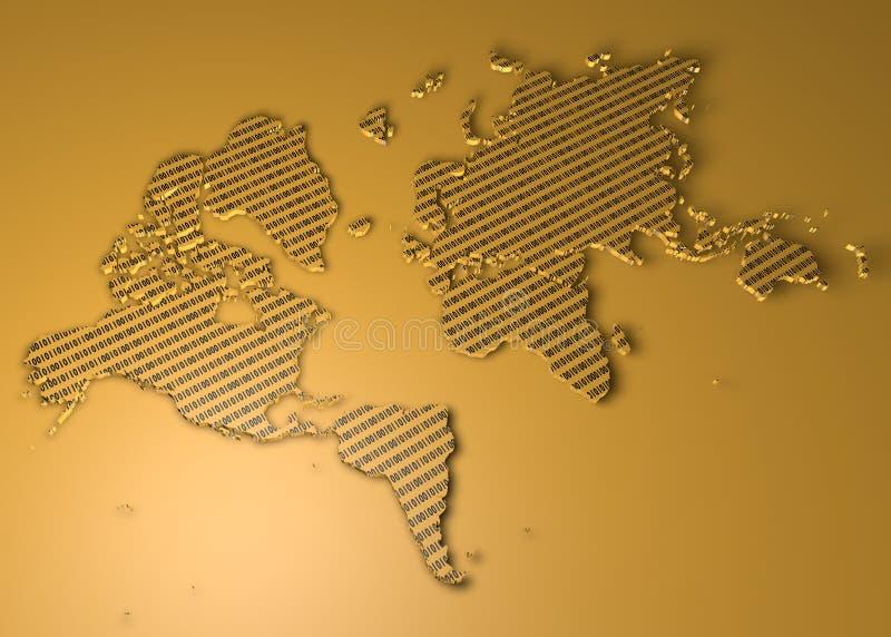 Światowa mapa z binarnymi liczbami jako tekstura ilustracja wektor
