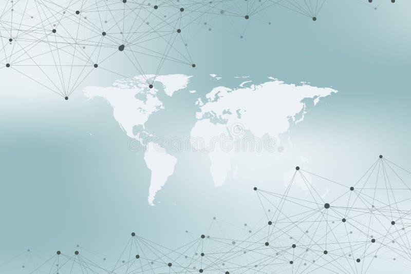 Światowa mapa z globalnym technologia networking pojęciem Cyfrowych dane unaocznienie Wykłada plexus Duży dane tło ilustracji