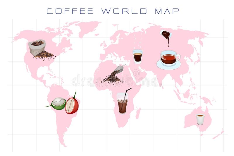 Światowa mapa z Kawową produkcją i spożyciem ilustracja wektor