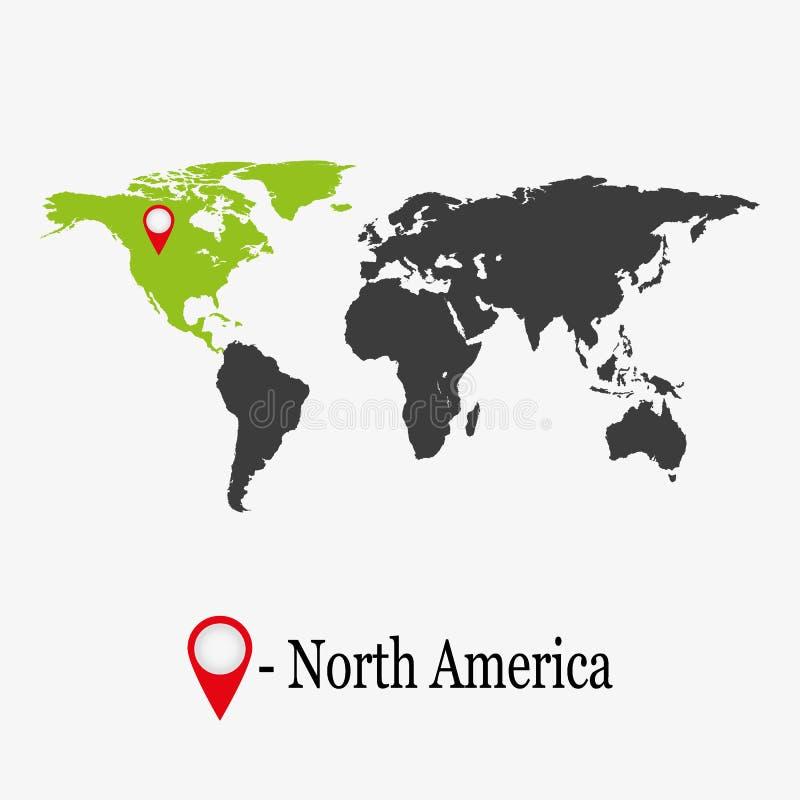 Światowa mapa z kontynentem Północna Ameryka ilustracji