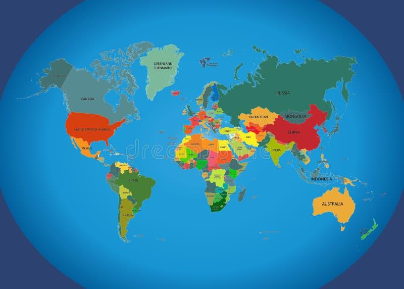 Światowa mapa z krajów imionami ilustracja wektor