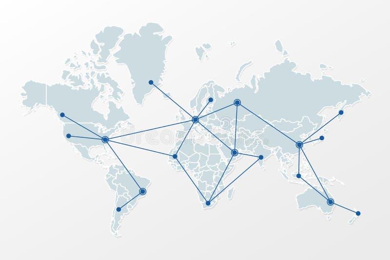 Światowa mapa z kraj granicami i trójbok sieci wzorem Ilustracja znak dla globalnego, międzynarodowy, komunikacyjny, biznes royalty ilustracja