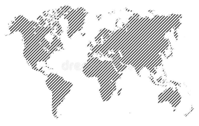 Światowa mapa z liniami - wektor ilustracji