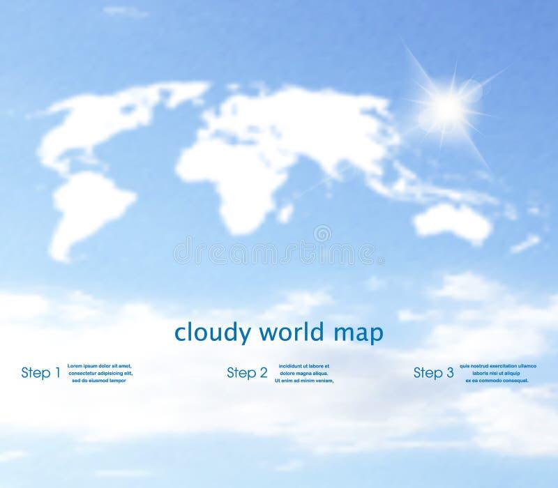 Światowa mapa z niebem na tle jak chmurnieje ilustracji