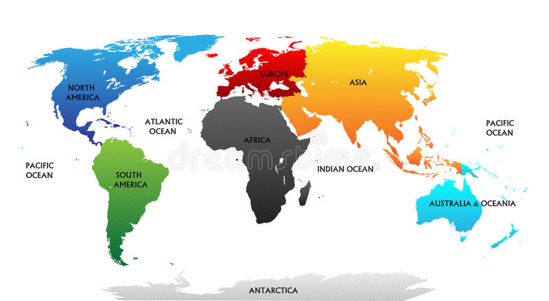Światowa mapa z podkreślającymi kontynentami ilustracja wektor
