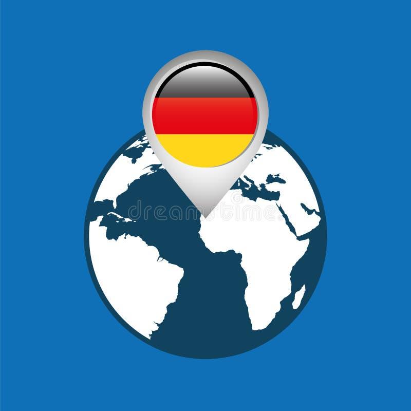 Światowa mapa z pointer flaga Germany royalty ilustracja