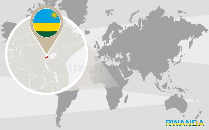 Światowa mapa z powiększającym Rwanda