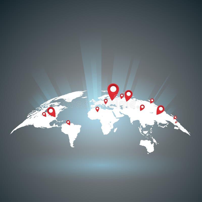 Światowa mapa z punktami royalty ilustracja