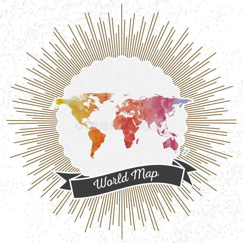 Światowa mapa z rocznika stylu gwiazdy wybuchem, kolorowym royalty ilustracja