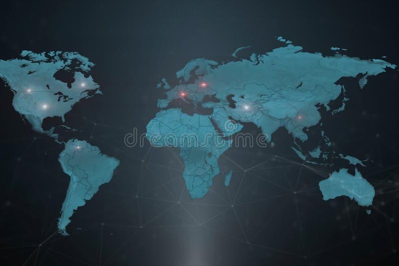 Światowa mapa z symbolicznymi lokacjami firmy ` s serwery ilustracji