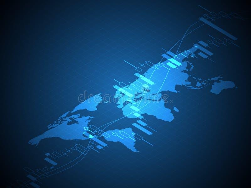 Światowa mapa z zapasu i rynków walutowych świeczki kija wykresem sporządza mapę ilustracji