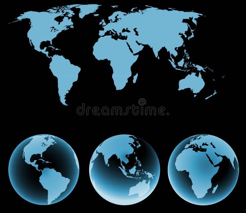 Światowa mapa z ziemskimi kulami ziemskimi ilustracji