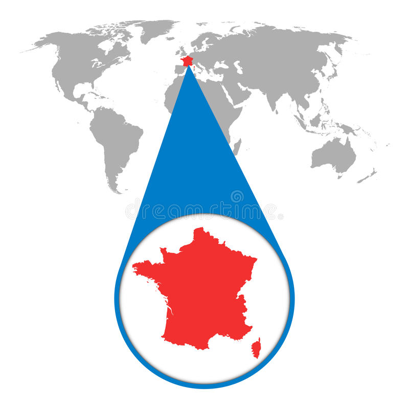 Światowa mapa z zoomem na Francja Mapa w loupe również zwrócić corel ilustracji wektora ilustracji