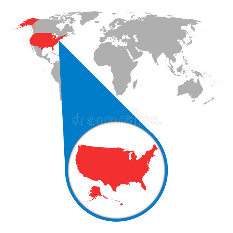 Światowa mapa z zoomem na usa Ameryka mapa w loupe Wektorowy illustr ilustracji