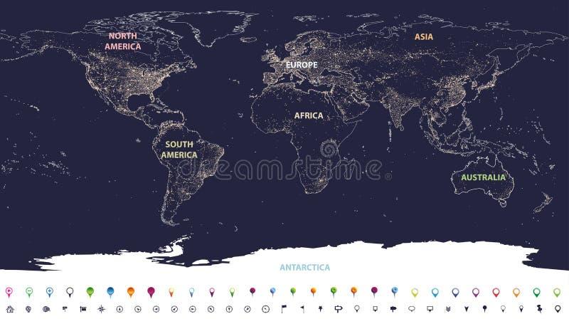 Światowa miast świateł mapa z przylepiającymi etykietkę kontynentami w różnych kolorach i lokacj ikonach ilustracja wektor