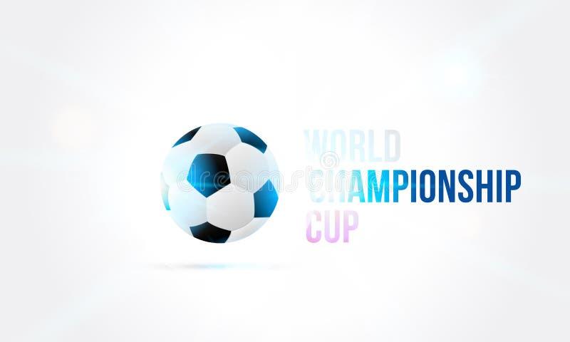Światowa mistrzostwo filiżanka w Rosja sztandaru 2018 szablonie z futbolowym tekstem na tle z jaskrawym lekkim skutkiem i piłką ilustracji