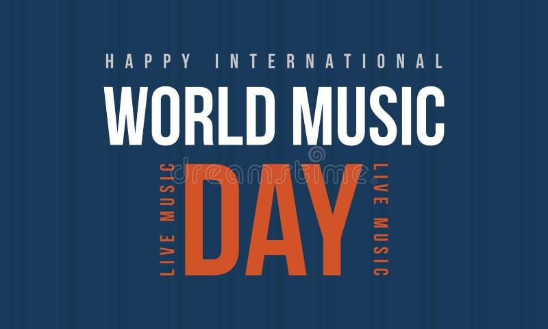 Światowa muzyczna dnia stylu sztandaru kolekcja ilustracja wektor