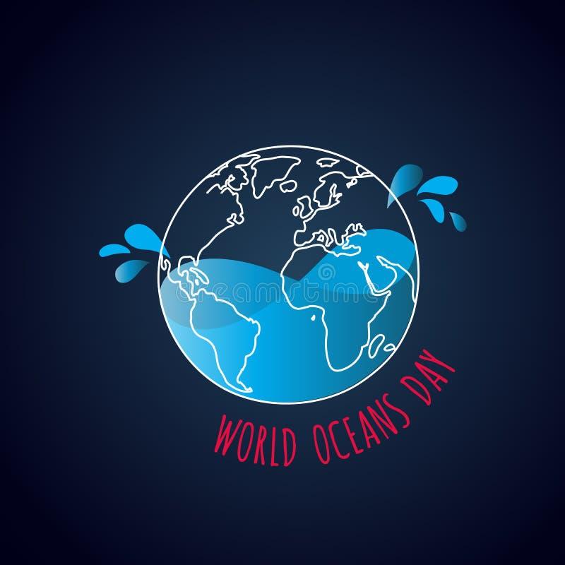 Światowa oceanu dnia karta Kontur wody i ziemi pluśnięcie ilustracja wektor