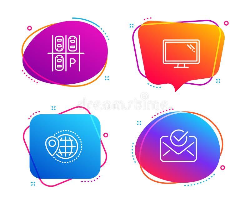 Światowa podróż, parking miejsce i monitor ikony ustawiać, Zatwierdzony poczta znak wektor ilustracja wektor