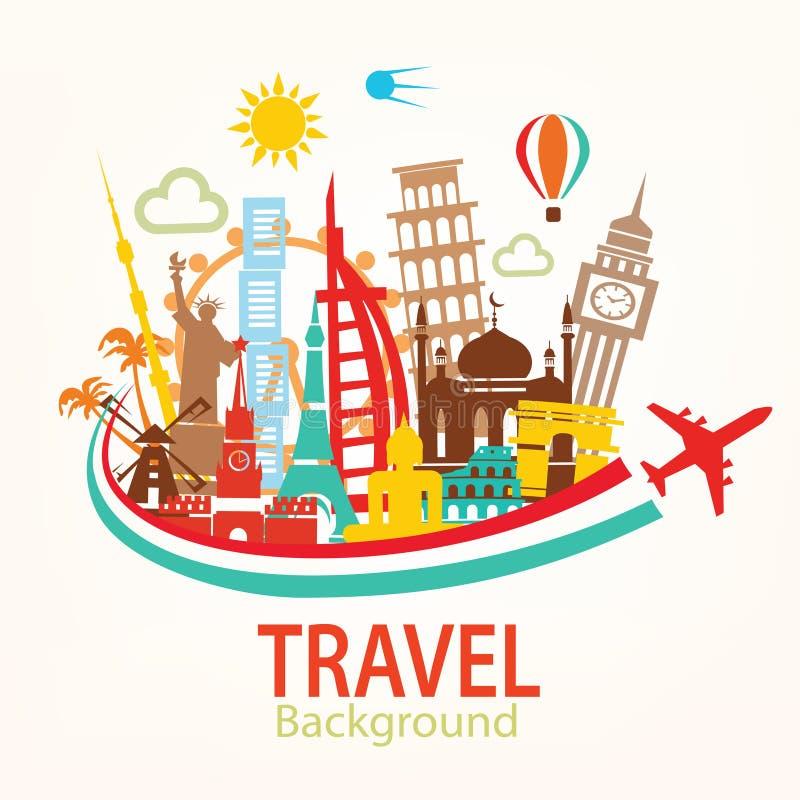 Światowa podróż, punkt zwrotny sylwetek ikony ustawiać ilustracja wektor