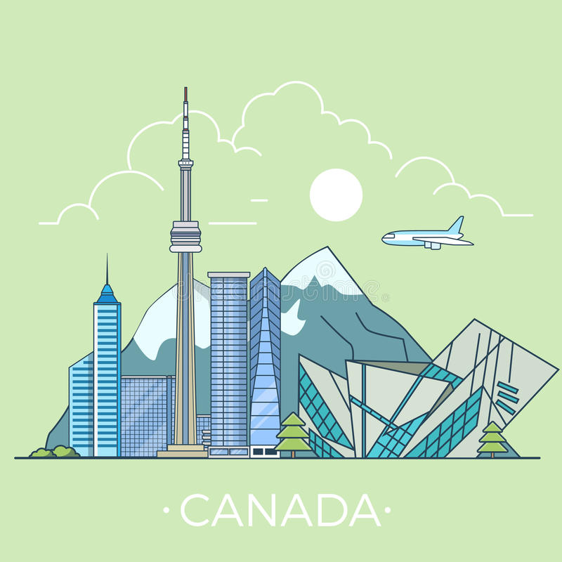 Światowa podróż w Kanada Liniowym Płaskim wektorowym projekcie t royalty ilustracja