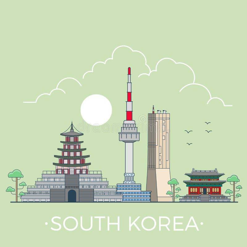 Światowa podróż w Południowym Korea wektoru Liniowym Płaskim des ilustracji