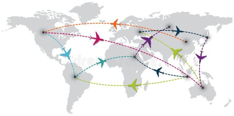Światowa podróż z mapą i lotniczymi samolotami ilustracja wektor