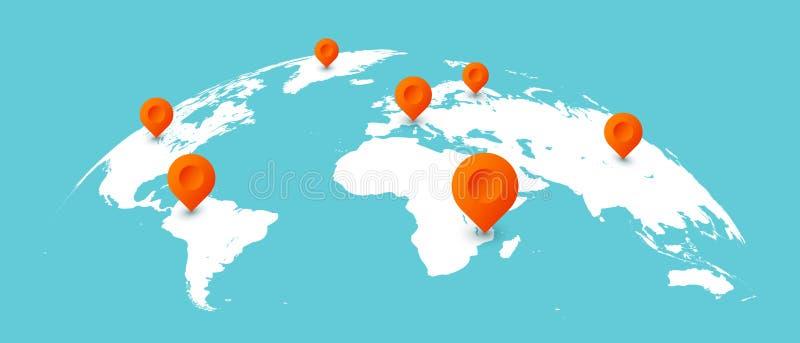 Światowa podróży mapa Szpilki na globalnych ziemskich mapach komunikacje biznesowe, na całym świecie odizolowywali pojęcie ilustr royalty ilustracja