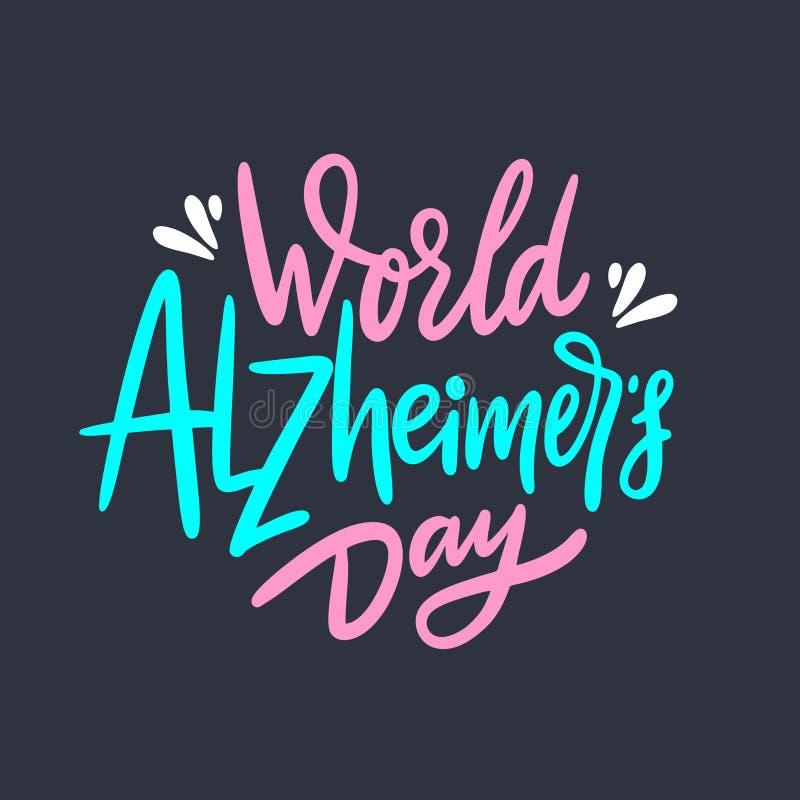 Światowa ręka rysujący Alzheimer dnia wektorowy literowanie Odizolowywaj?cy na czarny tle ilustracja wektor