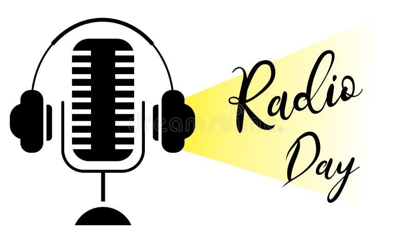 Światowa radiowego dnia sylwetka Mikrofon z hełmofonu pojęciem ilustracja wektor