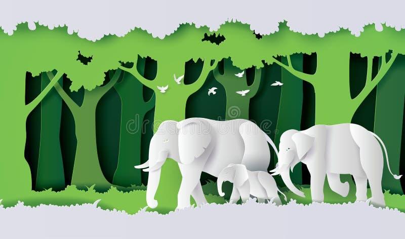 Światowa słonia dnia rodzina słoń w lesie ilustracja wektor