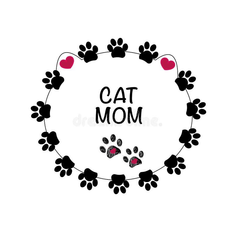 Światowa ` s czarnego kota wielka mama Macierzysty ` s dnia kartka z pozdrowieniami z kotem ilustracja wektor